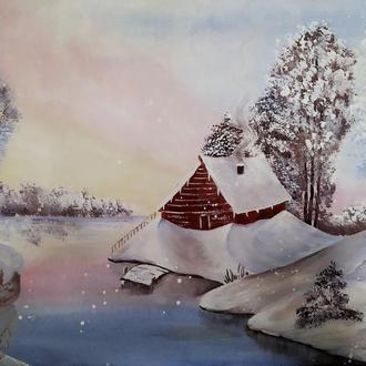 "Картина ""Зимнее утро"" ручная работа"