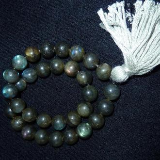 Четки традиционные - лабрадор лунный камень, иризирует, 33 бусины, длина 170 мм