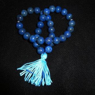 Четки традиционные лазурит индиголит темно-синий, 33 бусины, длина 200 мм