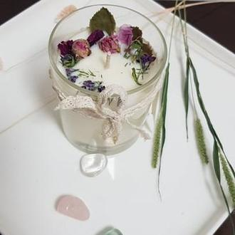 Арома свеча из соевого воска с розой