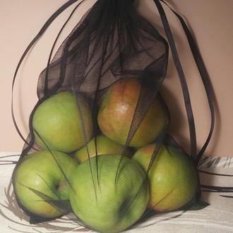 Экомешочек из сетки черный, фруктовка, эко мешочки