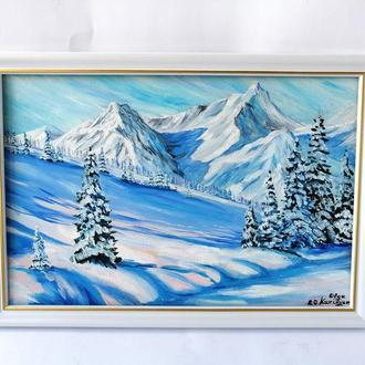 Картина маслом снежная гора, Зимний пейзаж маслом, Картина зима, Красивые горы маслом