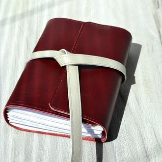 Блокнот, ежедневник А6 датированный, кожа, Бордо