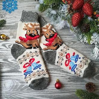 Новогодние носки женские шерстяные зимние на новый год Олененок р. 38-41