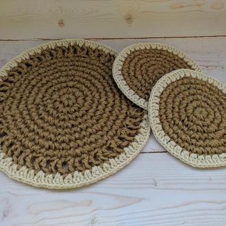 Вязаные подставки под горячее из джута, подставки для чашек, набор сервировочных салфеток из джута