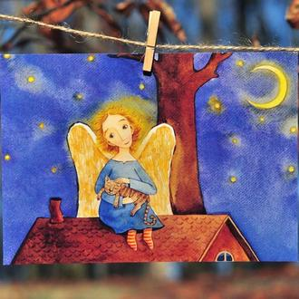 """Листівка """"Ангел на даху"""""""