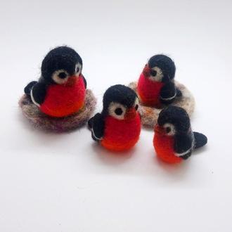 Снігурі мініатюрні Валяні снігурі Повстяні пташки Набір в одному примірнику - уточнювати наявність