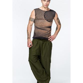 Мужские широкие хлопоковые удобные штаны для йоги цвета хаки с карманами