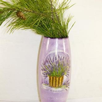 Ваза роспись ваза для цветов ваза стекло ваза ручной работы ваза стеклянная подарок женщине Прованс