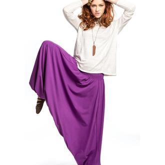 Широкие восточные трикотажные штаны фиолетового цвета для йоги, casual, танцев, активного отдыха