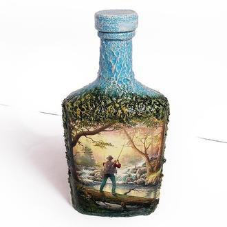 Декор бутылки «Заядлому рыбаку» Оригинальный подарок для мужчины рыбака.