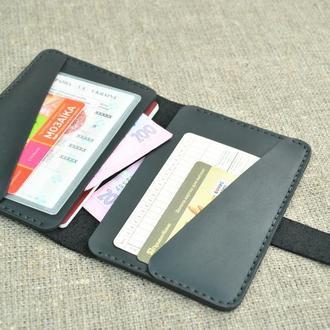 Чехол из натуральной кожи для документов, банковских карт и денег D02-0