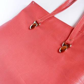 Кожаная сумка-тоут «Коралловый риф», пляжная сумка, сумка шоппер