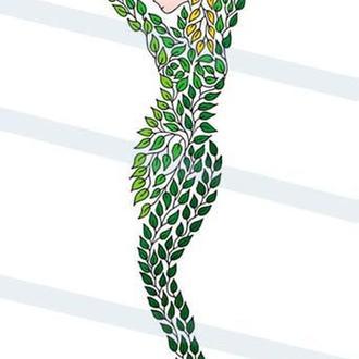 Женский образ из листьев. Графика. Картина А3. Принт.