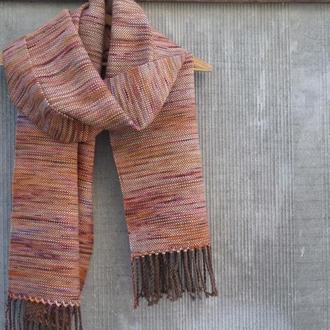 Тканый палантин Осенний меринос/альпака ручное ткачество