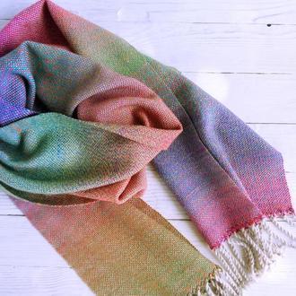 Тканый шарф Северное сияние шерсть/альпака ручное ткачество