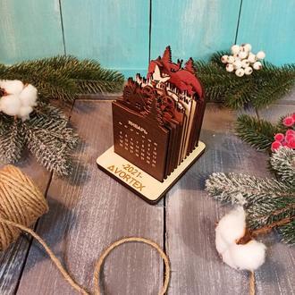 Настольный деревянный календарь с логотипом, деревянный календарь, корпоративный подарок