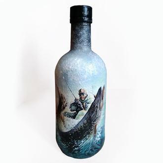 """""""Удачная рыбалка"""" Декор бутылки в подарок мужчине рыбаку"""