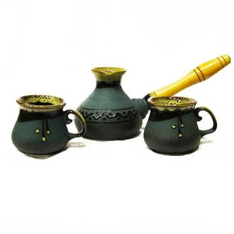 Набір кавовий (турка мала зелена з двома горнятками)
