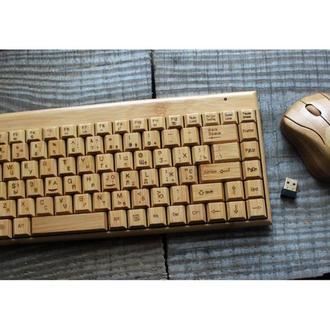 Комплект беспроводная деревянная клавиатура и мышка
