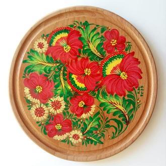 Подставка под горячее, подставка под пиццу декор Петриковская роспись