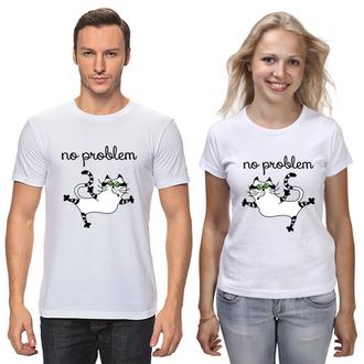 """Парные футболки с принтом """"Коты: no problem"""" Push IT"""