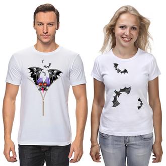"""ФП006626 Парні футболки з принтом """"Кажани"""" Push IT"""