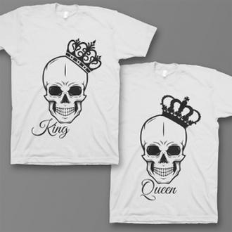 """Парные футболки с принтом """"Черепа с коронами"""" Push IT"""