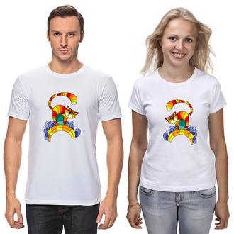 """Парные футболки с принтом """"Полосатый кот"""" Push IT"""