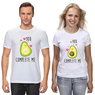 """Парные футболки с принтом """"Авокадо Любовь"""" Push IT"""