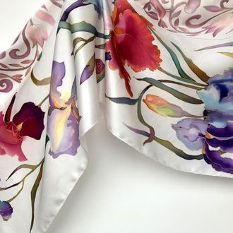 """Шелковый шарф """"Ирисы с орнаментом"""", натуральный атласный шелк"""