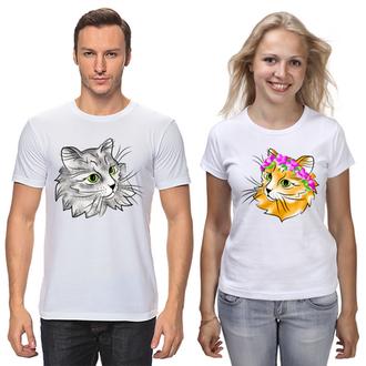 """ФП006658 Парні футболки з принтом """"Котейки парочка"""" Push IT"""