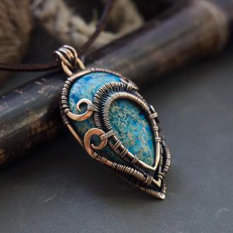 Круглый кулон с голубым диккитом // Кулон wire wpap // Кулон на шею