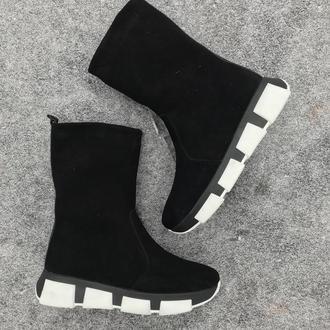 Замшевые угги ботинки