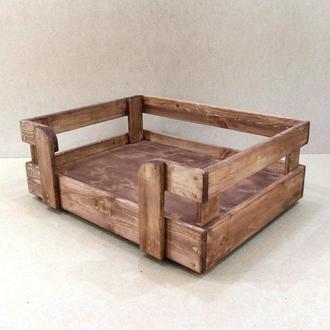 """Лежак деревянный для собаки """"Бонелли 80х50"""" капучино"""