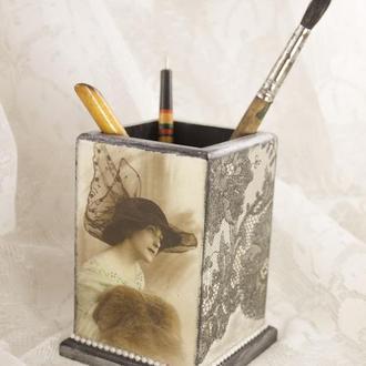 Карандашница в стиле ретро стакан для канцелярии карандашей ручек кисточек подставка для косметики