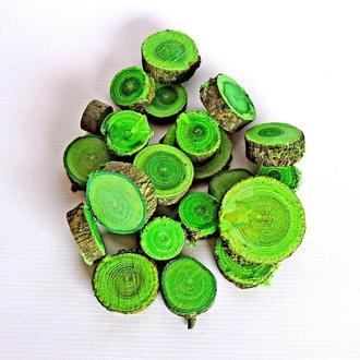 Набор спилов (срезов) ассорти зелёных 50шт (20-35мм)