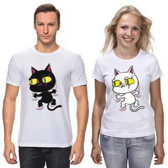 """Парные футболки с принтом """"Черный кот и Белая кошка"""" Push IT"""