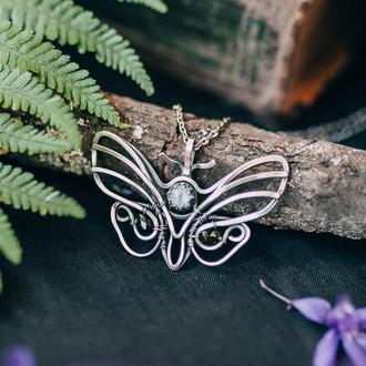 Кулон метелик срібний з місячним каменем