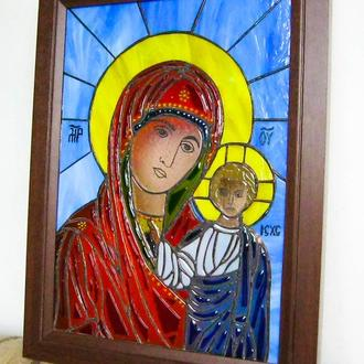 Казанская икона Божьей Матери, Витраж, Икона из стекла, Икона купить, Икона подарок