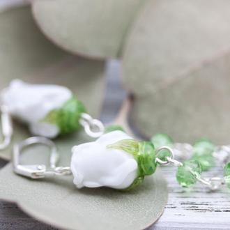Серьги Розы лэмпворк белые