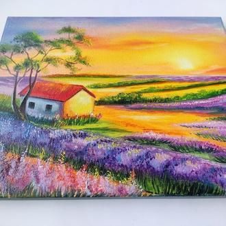 """Картина """"Захід сонця. Лаванда"""", пейзаж, олія, холст"""