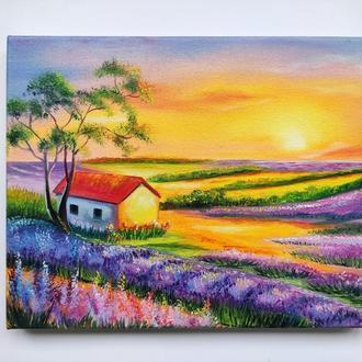 """Картина """"Закат солнца. Лаванда"""", пейзаж, масло и холст"""