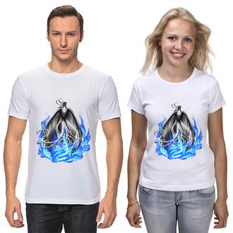 """ФП006706 Парні футболки з принтом """"Вогненний фенікс"""" Push IT"""