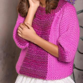 Красивый, тёплый, оригинальный двухцветный свитер для девочки. Ручная вязка.