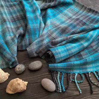 Тканый шарф Морской шерсть ручное ткачество