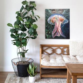 Картина маслом медуза