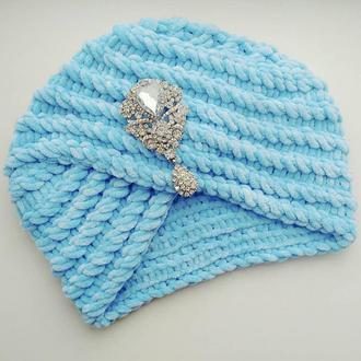 Велюрова чалма тюрбан  бірюзово-блакитного кольору Hand Made