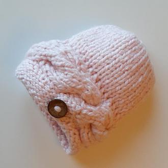 Шапка зимняя женская светло разовая вязаная с объёмной косой