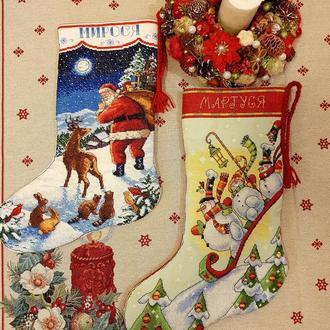 Рождественские сапожки вышитые на заказ, новогодний чулок